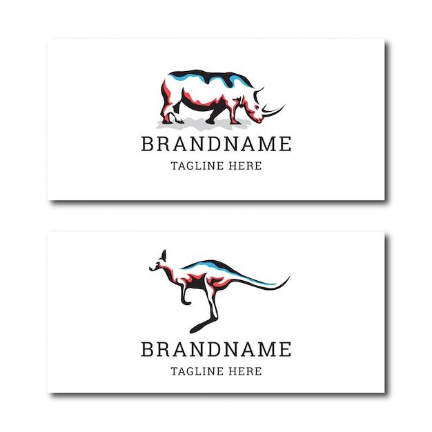 Impressionante modelo de design de ícone de logotipo de rinoceronte e canguru Vetor Premium