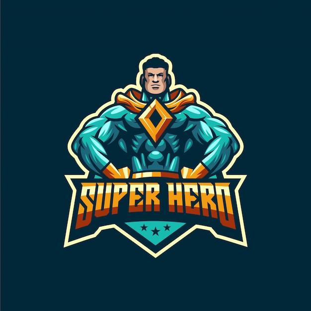 Impressionante modelo de logotipo de super herói Vetor Premium