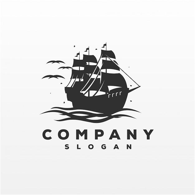 Impressionante navio logo design vector ilustração Vetor Premium