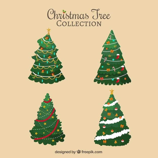 Impressionante pacote de árvores decorativas de natal Vetor grátis