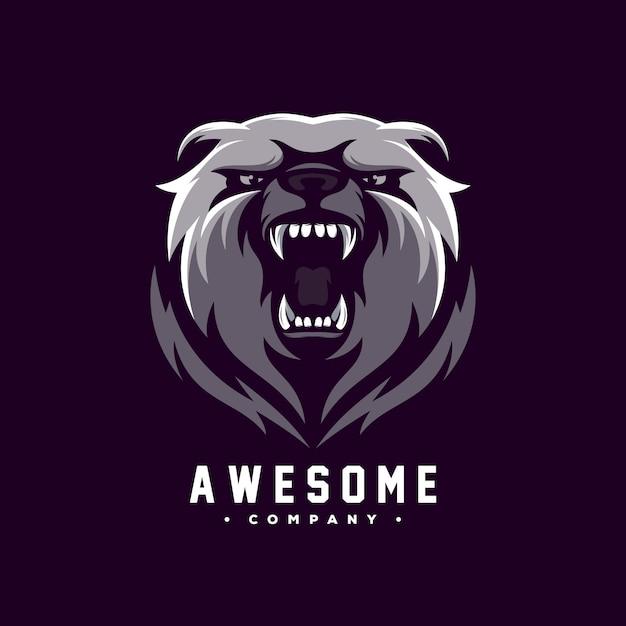 Impressionante urso logo design vector Vetor Premium