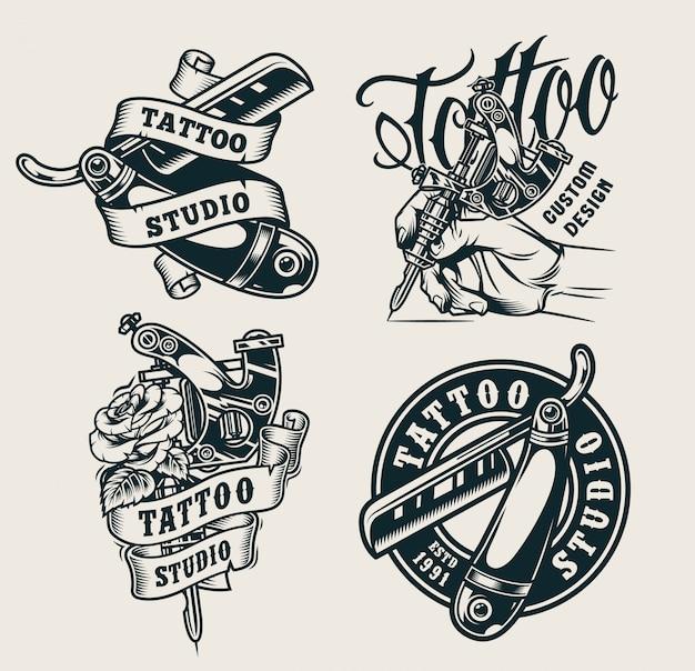 Impressões de estúdio de tatuagem vintage Vetor grátis