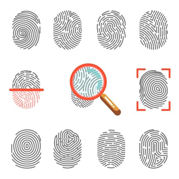 Impressões digitais ou identificação de impressão na ponta do dedo Vetor Premium