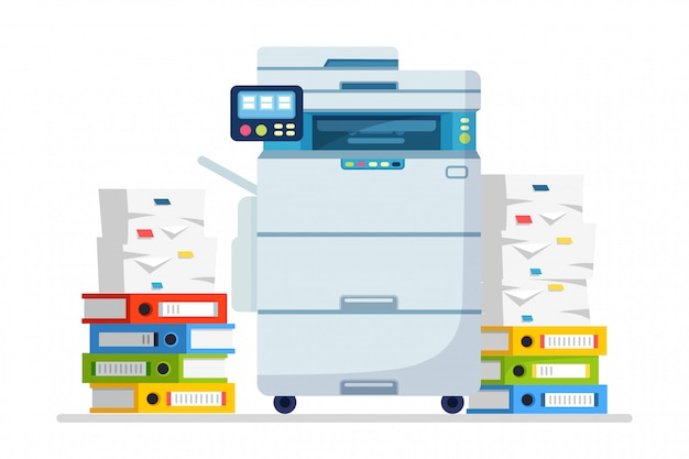 Impressora, máquina de escritório com papel, pilha de documentos. scanner, equipamento de cópia. papelada. dispositivo multifuncional. desenho animado Vetor Premium