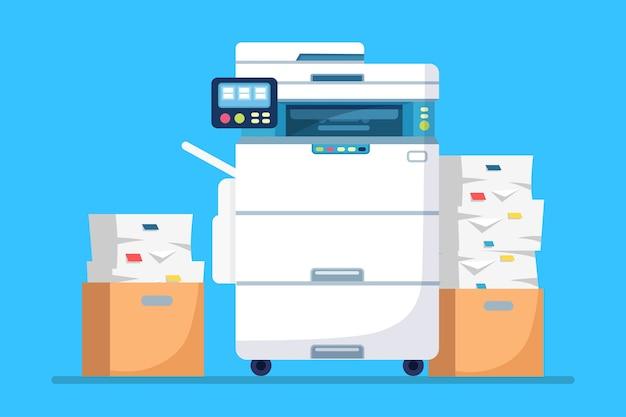 Impressora, máquina de escritório com papel, pilha de documentos. scanner, equipamento de cópia. Vetor Premium