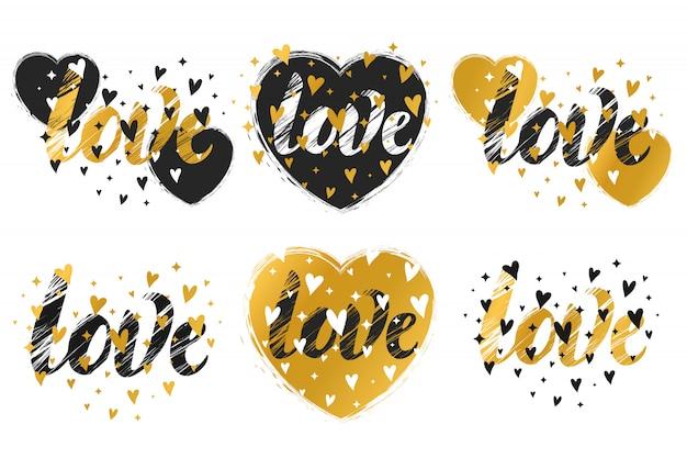 Imprime com um coração. um conjunto de impressões. ilustração para o dia dos namorados. Vetor Premium