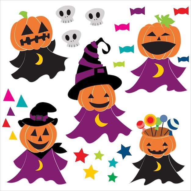 Imprimir Aboboras De Halloween Vetor Premium