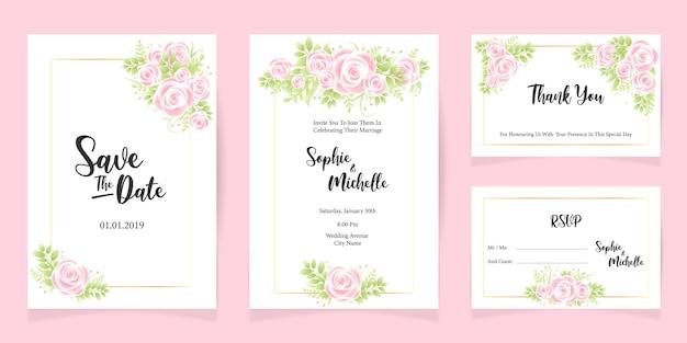 Imprimir modelo de cartão de convite de casamento salvar o conjunto de cartão de data Vetor Premium