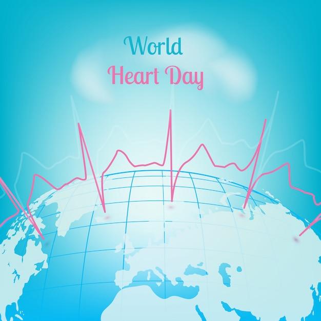Imprimir o cardiograma do dia do coração do mundo Vetor Premium