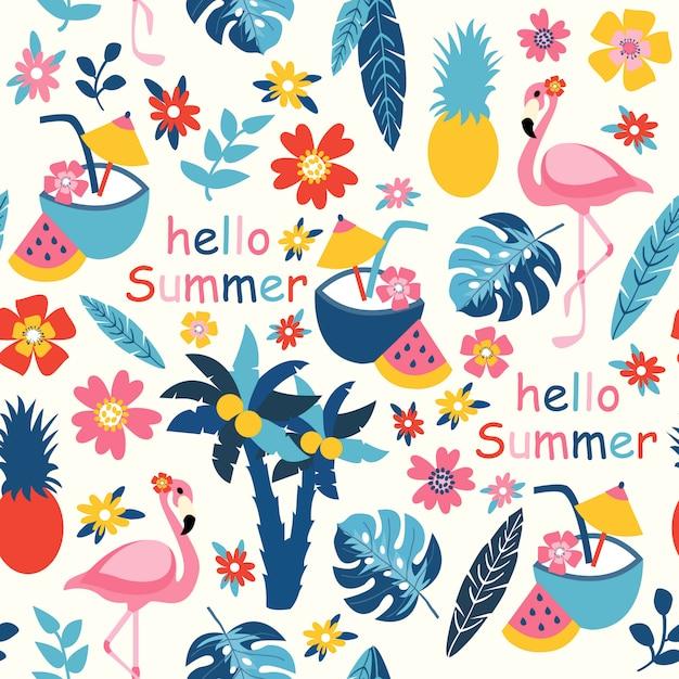 Imprimir olá verão Vetor Premium