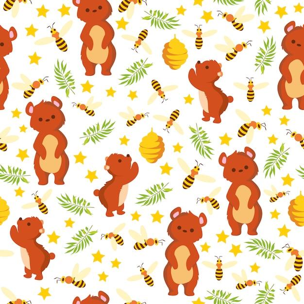 Imprimir padrão de urso de abelha Vetor Premium