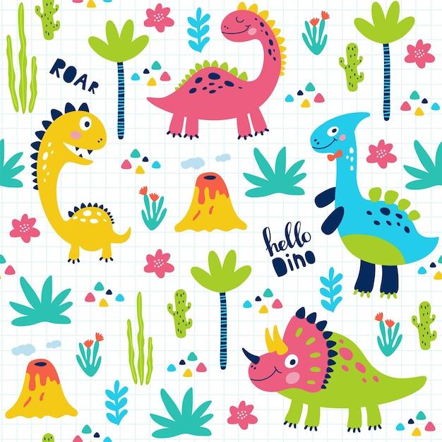 Imprimir padrão sem emenda com dinossauros bonitos para crianças. Vetor Premium
