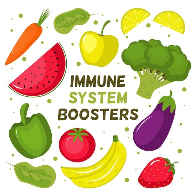 Impulsionadores do sistema imunológico com vegetais Vetor grátis