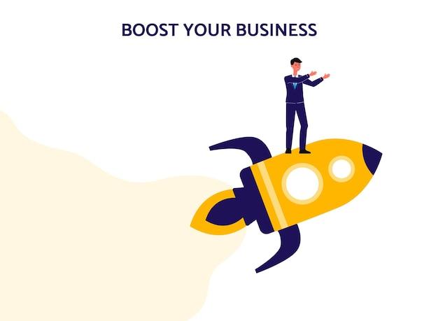 Impulsione o seu banner isolado de negócios com empresário voando no foguete. Vetor Premium