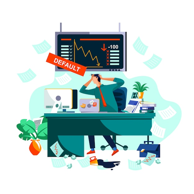Inadimplência ou colapso na bolsa de valores Vetor grátis