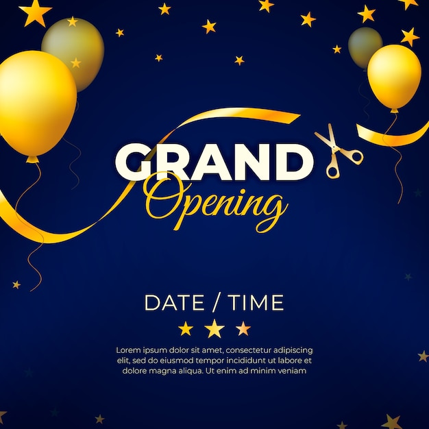 Inauguração com balões de ouro Vetor Premium