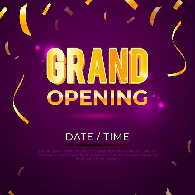 Inauguração com confete dourado Vetor Premium