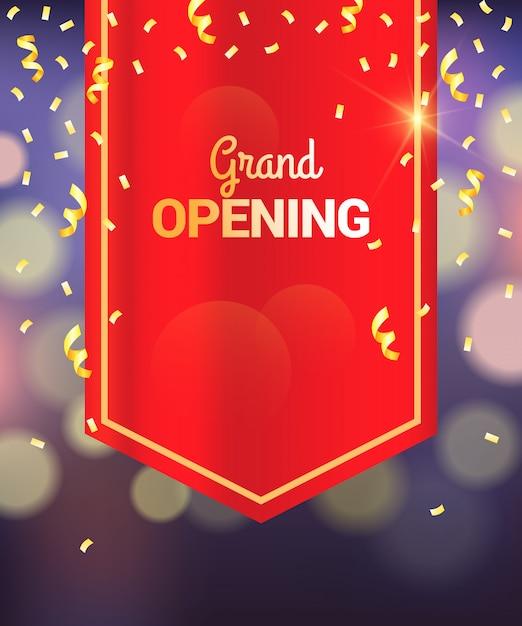 Inauguração: cortina vermelha design, fundo de bokeh Vetor Premium