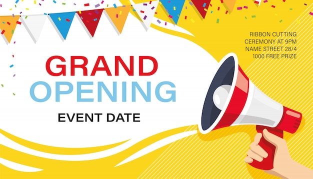 Inauguração: modelo de banner. propaganda Vetor Premium