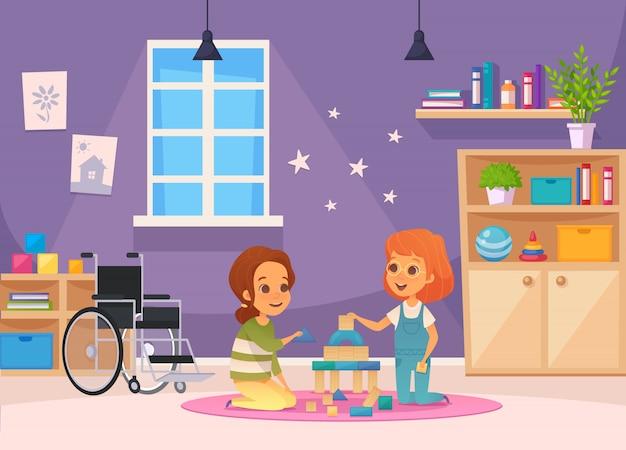 Inclusão, educação inclusiva, caricatura, composição, dois filhos, sentar-se quarto, e, tocando, ilustração Vetor grátis