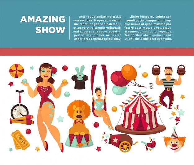 Incrível cartaz promocional de circo com participantes de espetáculos e equipamentos. Vetor Premium