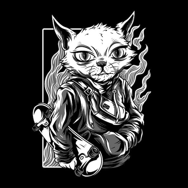 Independent cat black & white ilustração Vetor Premium