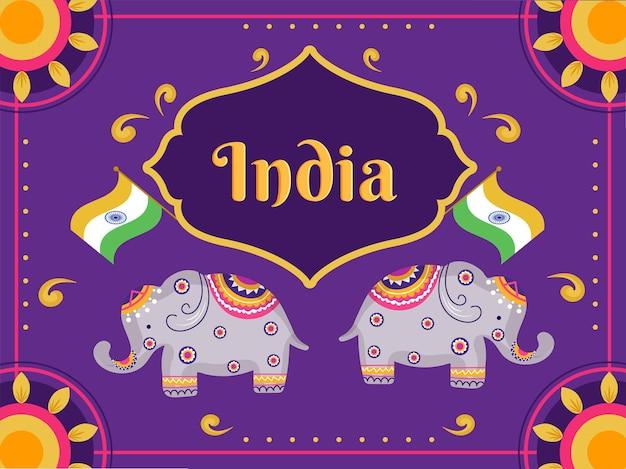Índia art style background com ilustração de elefantes e bandeiras indianas. Vetor Premium