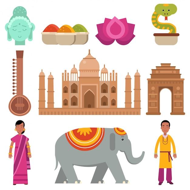 Índia coleção definida com símbolos tradicionais do país, viajar para a índia, sinais da cultura tradicional indiana ilustração Vetor Premium