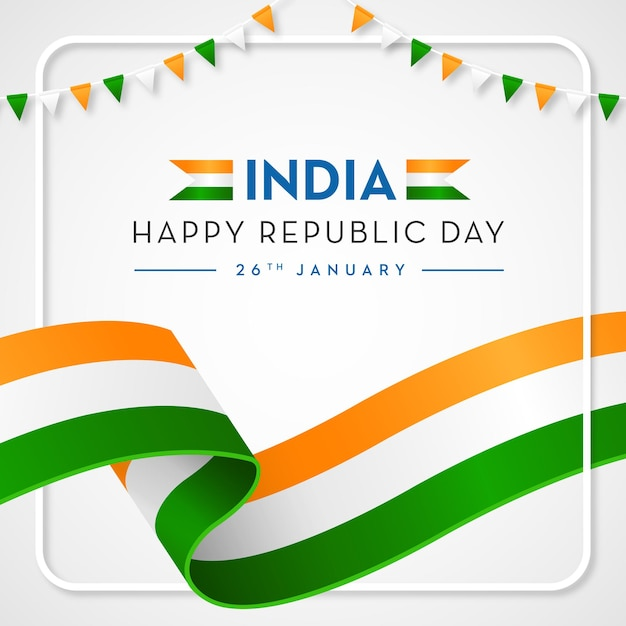 Índia happy republic background bandeira indiana Vetor Premium
