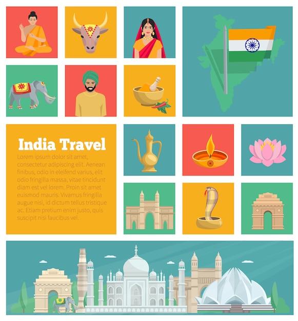 Índia ícones planas decorativas com cozinha de arquitetura mapa e fatos nacionais isolados ilustração vetorial Vetor Premium