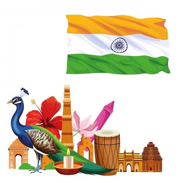 Índia viagens e turismo Vetor Premium