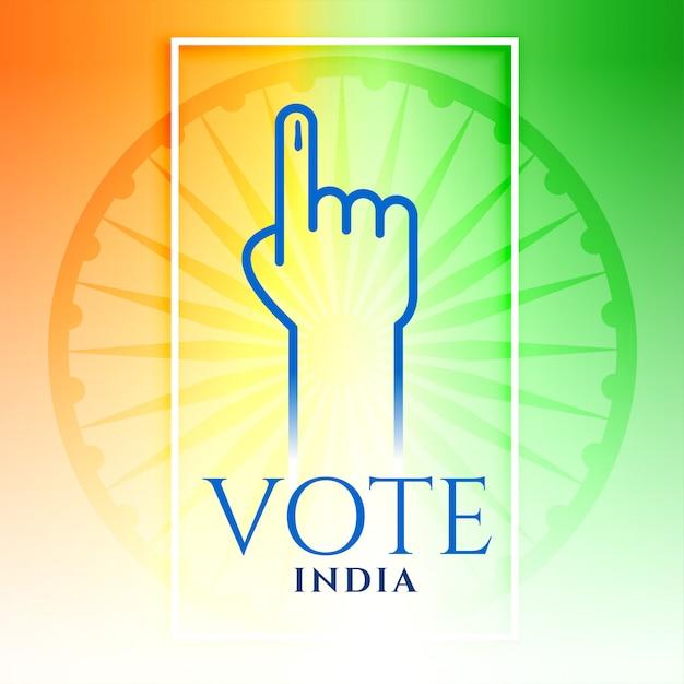 Índia voto mão com tricolor Vetor grátis