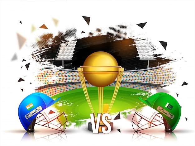 Índia vs pakistan cricket combina o conceito com capacetes de batedor e troféu de ouro no fundo do estádio. Vetor grátis
