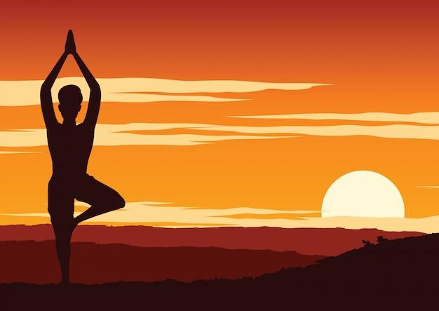 Índia yogi realizar ioga Vetor Premium