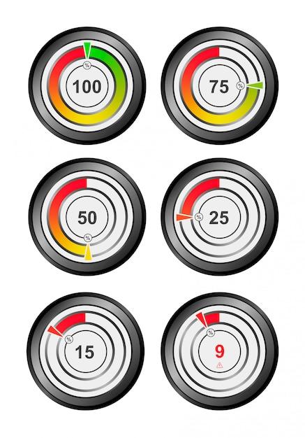 Indicador de carga, oxigênio, energia, pressão, manômetro, temperatura e muito mais. 100, 75, 50, 25, 15, 9 por cento. indicador para o conceito de interface do usuário. Vetor Premium
