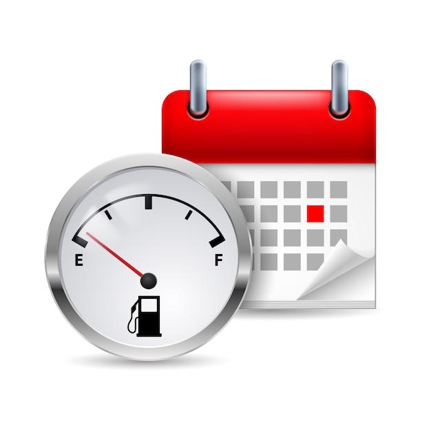 Indicador de combustível e calendário Vetor Premium