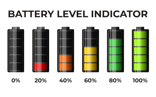 Indicador de nível de bateria de conjunto 3d ícone realístico Vetor Premium