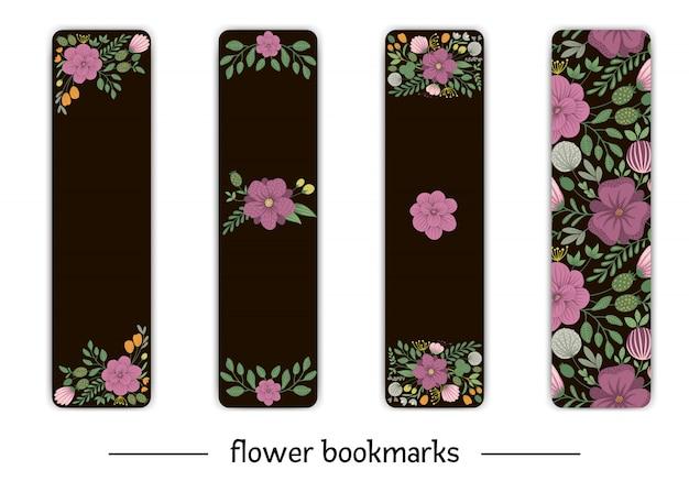 Indicador de vetor com elementos florais. ilustração na moda plana com flores, folhas, galhos. prado, bosques, floresta clip-art. Vetor Premium