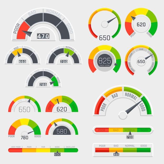 Indicadores de pontuação de crédito com níveis de cor de ruim a bom. calibres com conjunto de vetor de escala de medição. classificação de crédito bom e ruim, indicador de nível de crédito Vetor Premium