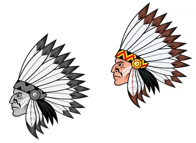 Indígenas em traje nacional para tatuagem Vetor Premium