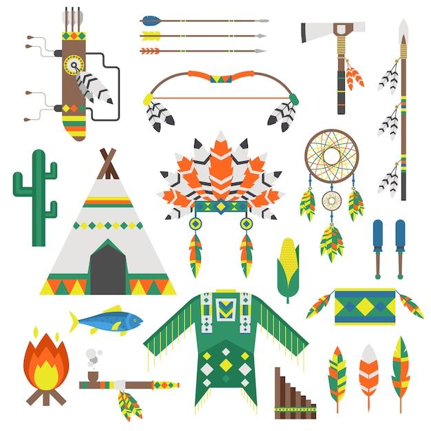 Índios, ícone, ornamento templo, e, indians, ícones, elemento, vetorial Vetor Premium