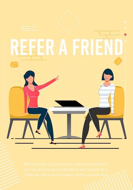 Indique o poster inspirador do amigo com texto do promo Vetor Premium