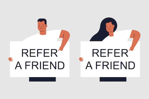 Indique um amigo, homem e mulher caracteres isolados em cinza Vetor Premium