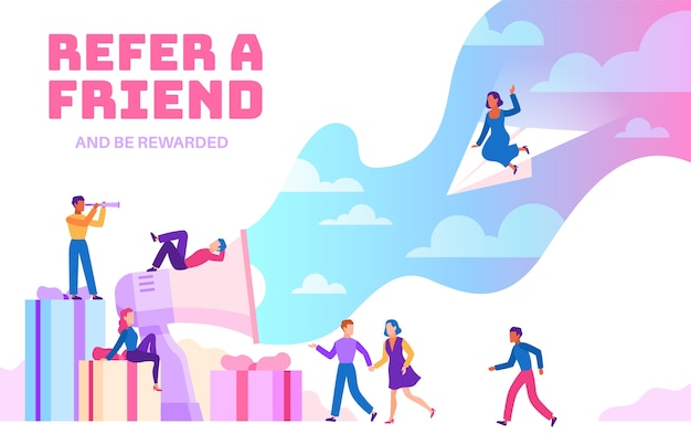 Indique um amigo. pessoas amigáveis com megafone indicando novos usuários. programa de recomendação de negócios. jovem referido como empresário financeiro Vetor Premium
