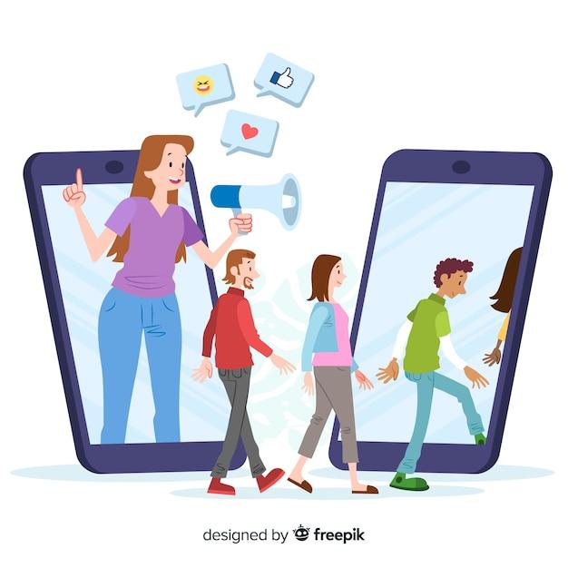 Indique um conceito de amigo com megafone e smartphones Vetor grátis