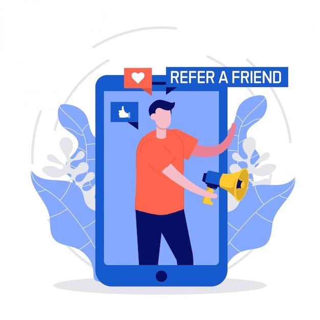 Indique um conceito de amigo com smartphone e megafone. as pessoas compartilham informações sobre referências e ganham dinheiro. Vetor Premium