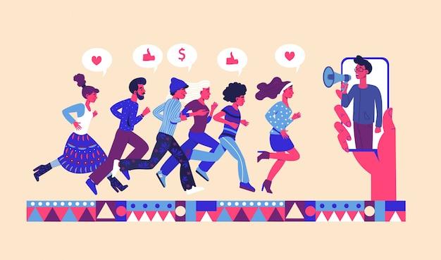 Indique um conceito de amigo com um grupo de amigos correndo para ligar para um megafone. indique um programa de fidelidade de amigos. Vetor Premium