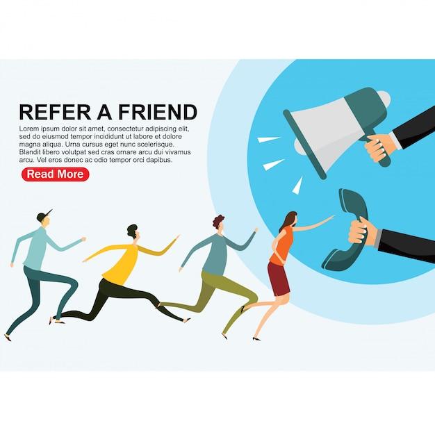Indique uma página de destino de amigos Vetor Premium