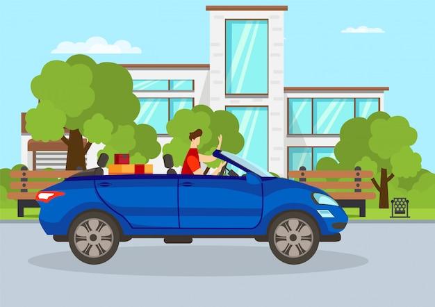 Indivíduo novo que conduz o automóvel azul do cabriolet na cidade. Vetor Premium