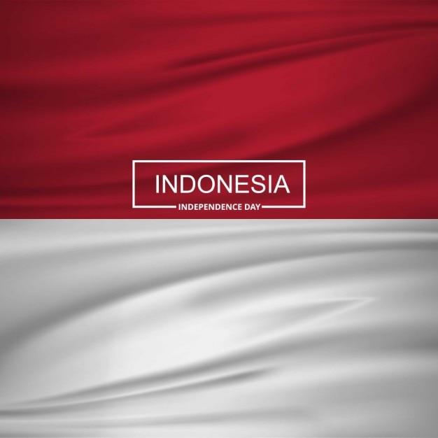 Indonésia bandeira de ondulação com tipografia Vetor grátis